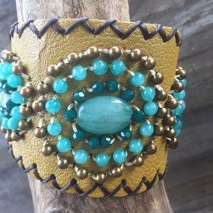 Jewelry - Hand beaded gold cuff